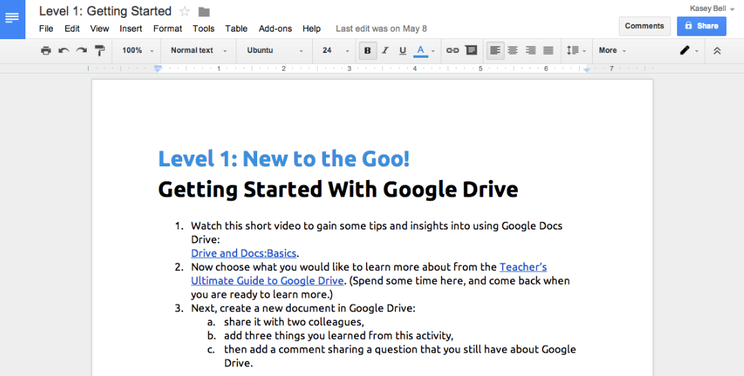 Example of Google Doc