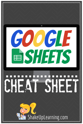 Google Sheets CHEAT SHEET by Shake Up Learning | www.shakeuplearning.com | #gafe #googleedu #googleET #edtech #elearning