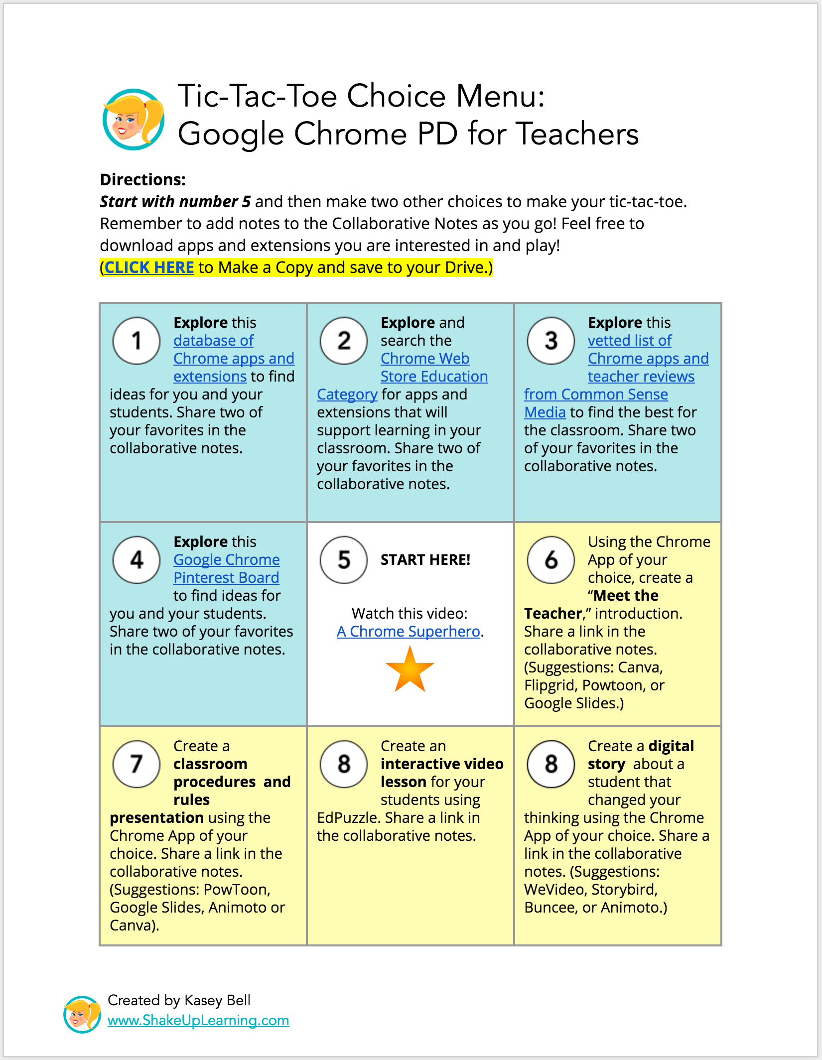 Interactive learning menus choice boards using google docs for Tic tac toe menu template