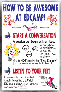 How to Be Awesome at #EdCamp Poster | www.ShakeUpLearning.com | #edchat #hackpd #teaching