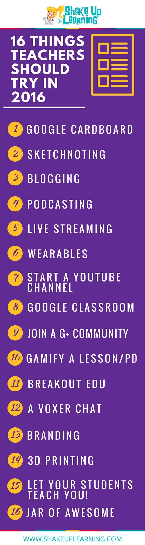 16 Things Teachers Should Try in 2016   www.ShakeUpLearning.com   #edtech #edchat #gafe