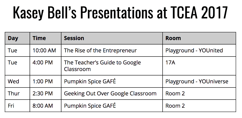Kasey Bell's Presentations at TCEA 2017