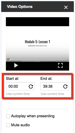 video options start and end time
