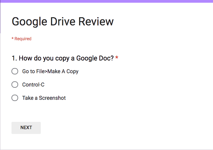 Google Drive Review Form