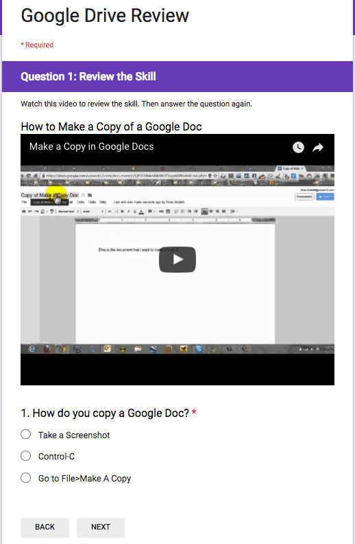 Google Drive Review Sample Question