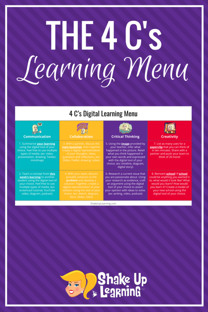 Empower Your Students with The 4 C's Learning Menu