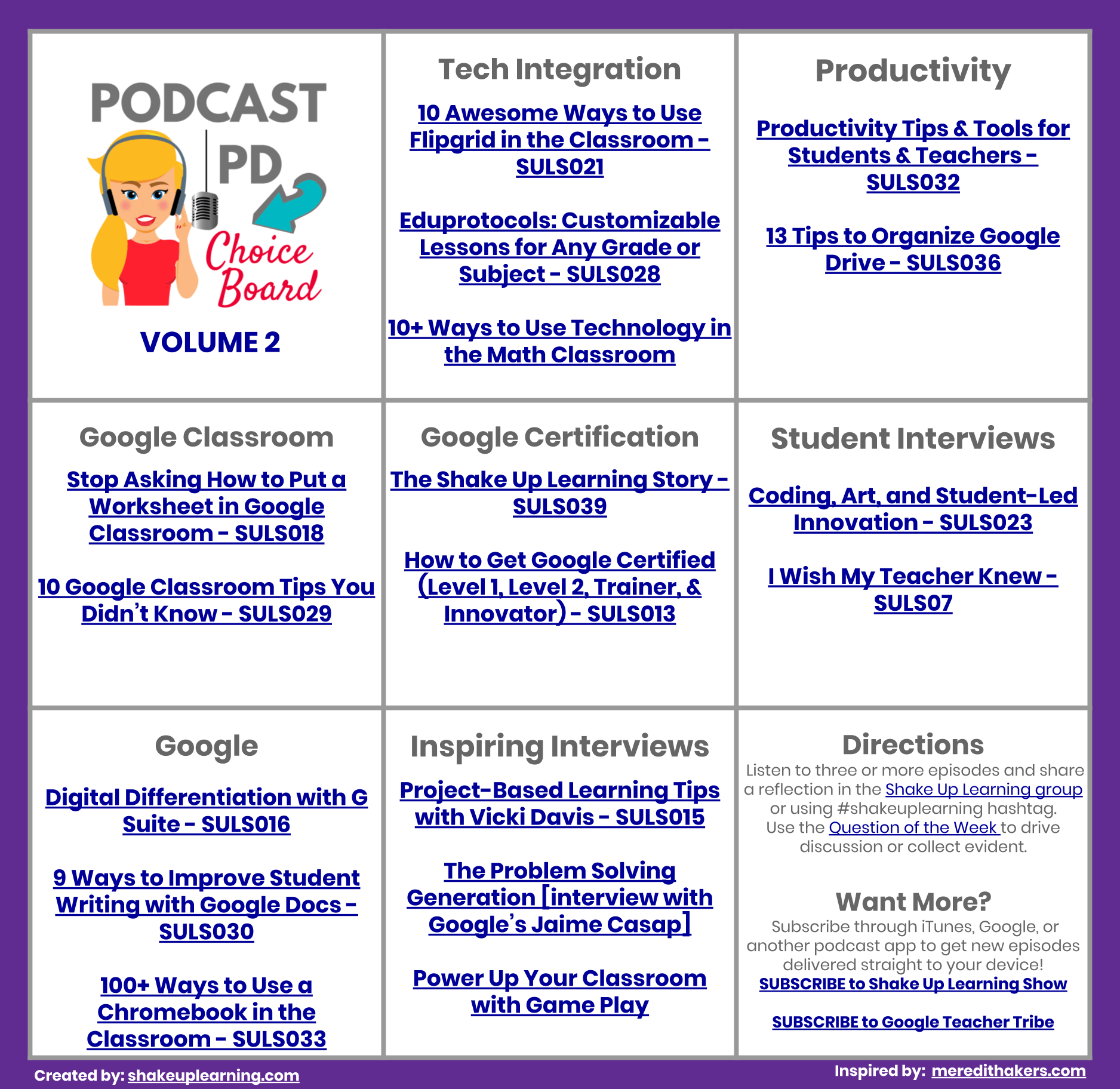 Podcast PD Choice Board for Teachers Vol. 2 (FREE Download!)