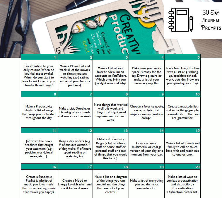 30 Day Photo Journal Calendar (FREE Template)